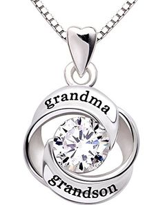 ALOV Jewelry Sterling Silver grandma and grandson Love Heart Cubic Zirconia Pendant Necklace * More info could be found at the image url.(This is an Amazon affiliate link and I receive a commission for the sales)