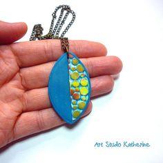Teal pendant   by Art Studio Katherine