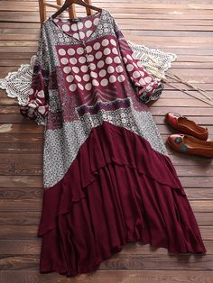 Stitching Printed Fake Two Pieces Dress For Women