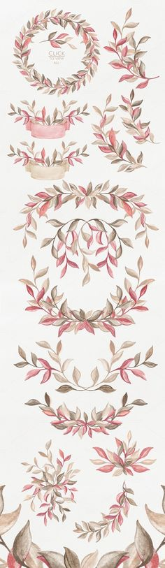 Wings of Wind. Retro set by NataliVA on Creative Market Watercolor Background, Watercolour Painting, Watercolor Flowers, Budget Planer, Motif Floral, Clipart, How To Draw Hands, Creations, Artsy