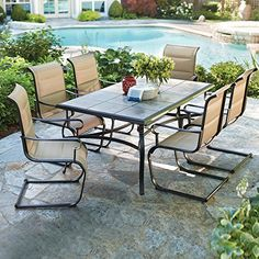Belleville 7Piece Padded Sling Outdoor Dining Set * Clicking on the VISIT button will lead you to find similar swimwear