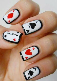 Nail art #cards #fashion #black #white #red