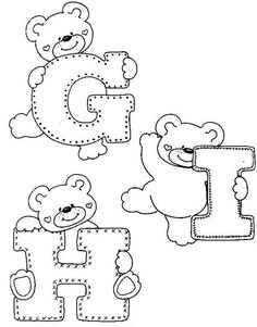 Fonts Alphabet Discover - alphabet and teddy coloring Coloring Letters, Alphabet Coloring Pages, Colouring Pages, Coloring Books, Alphabet For Kids, Alphabet And Numbers, Patchwork Quilting, Felt Patterns, Applique Patterns