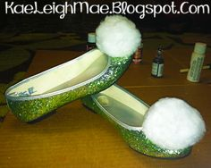 My homemade Tinkerbell shoes for under 15 dollars with supplies from Walmart