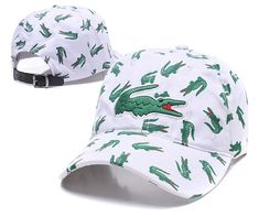 Men's / Women's Lacoste Full Croc Print Big Crocodile Embroidery Curved Dad Cap - White (Copy Ori) Adidas Baseball, Baseball Hats, Lacoste Store, Dad Caps, Nike Golf, Knit Beanie, Crocodile, Crocs, Knitted Hats