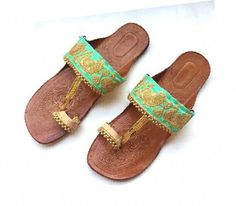 02349c969b33 Beautiful Gold Ethnic Peacock Black Kolhapuri Chappals with Gold Beadwork Women  Flats Women Sandals Indian Flip Flops