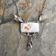 Ocean Jasper and Silver Necklace. Handmade by coldfeetjewelry