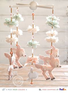 Cute Fawn Baby Mobile Swarovski Crystals Deer Nursery Decor Baby Girl Nursery Mobile Deer Baby Mobile Girl Woodland Mobile FREE SHIP