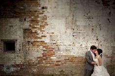 Wedding photography at Toronto Brickworks urban brick wall