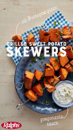 A clever take on traditional fries, these grilled sweet potato pieces taste even better dipped in a creamy Gorgonzola sauce.  Fire up the grill and make them tonight with the complete recipe from Ralphs.
