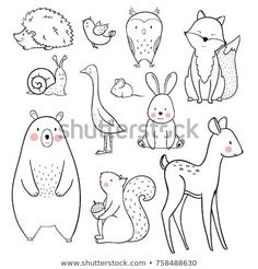 Lineares Vektorgrafik-Set von niedlichen Waldtieren Stock-Vektorgrafik (Lizenzfrei) 758488630 The linear vector children's illustration set of cute forest animals Wall Stickers Woodland, Nursery Wall Stickers, Forest Animals, Woodland Animals, Tier Doodles, Animals Crossing, Baby Animal Drawings, Simple Animal Drawings, Animal Doodles