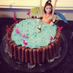 Barbie hot tub party cake