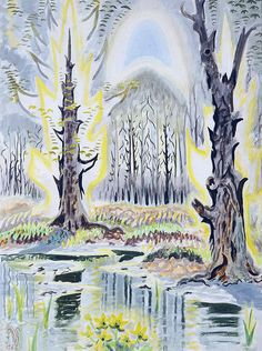 Charles Burchfield Glory of Spring (Radiant Spring) 1950 Watercolor on paper. Collection Parrish Art Museum, Southampton, New York. Alfred Corning Clark, Photo by Gary Mamay. Nature Paintings, Watercolor Paintings, Watercolors, Watercolor Artists, Painting Art, Art Brut, Art Et Illustration, American Artists, Oeuvre D'art