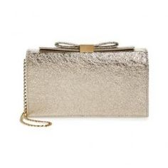 See by Chloe Leather Metallic Gold Nora Clutch - 40%Off
