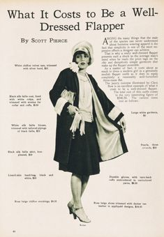 What it costs to be a well dressed Flapper.The history of the Flapper in the Belle Epoque, Flapper Style, 1920s Flapper, Flapper Fashion, Flapper Outfit, Flapper Girls, Fashion 1920s, 1920s Style, The Flapper