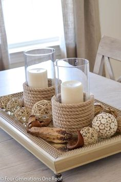 Rope candle holders  | Check out these tutorials of some of the best DIY home decor ideas using rope that's perfect for rustic and coastal home decor! #DIY #homedecor #ecofriendly #sustainable…More Rope Crafts, Beach Crafts, Diy Crafts, Decor Crafts, Diy Candle Holders, Diy Candles, Beeswax Candles, Decorating Candles, Diy Candle Plate