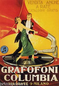 ITALY-GRAMOPHONE-COLUMBIA-MUSIC-COUPLE-DANCING-VINYL-RECORD-VINTAGE-POSTER-REPRO