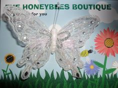 White Butterfly with Diamantes Clip