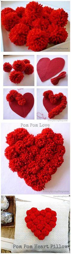 Pom Pom Heart Pillow Love DIY Decor