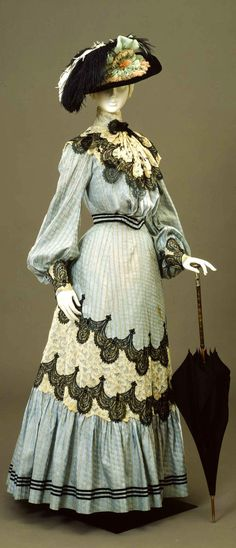 Lace Trimmed Walking Dress, ca. 1904-05  via Europeana Fashion