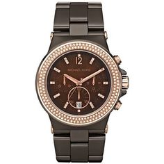 Michael Kors MK5518 Runway Chocolate Ceramic Espresso Chrono Watch