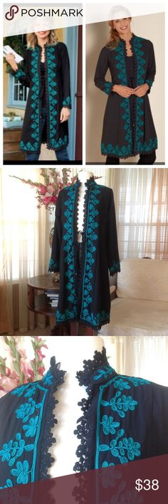 Soft surroundings embroidered duster In excellent condition. No signs of wear or defects.  Theres a string on the front to tie. Made of 100% polyester.                       f soft surroundings Sweaters Cardigans