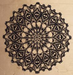 Crown of Skulls Doily   BLACK Crochet Doily  Crochet Lace
