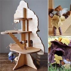 Play tree house - this is a perfect alternative to a dollhouse for a little boy. We could even make tiny ewoks and avatars to populate it!