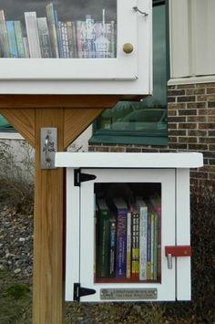The Mini Shed Little Free Library is handmade by craftsmen in Wisconsin and Minnesota. This little library box is weather-resistant, long-lasting, and would make a great addition to any neighborhood. Little Free Library Plans, Little Library, Little Free Libraries, Mini Library, Library Books, Library Ideas, Outdoor Projects, Diy Projects, Outdoor Ideas