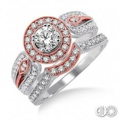 BRIDAL SETS    BRIDAL SETS    1 Ctw Diamond Wedding Set with 3/4 Ctw Round Cut Engagement Ring and 1/4 Ctw Wedding Band in 14K White and Pink Gold   $3,620.00