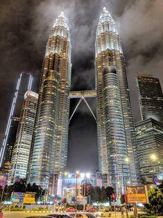 Petronas Twin Towers at Night - Kuala Lumpur, Malaysia × Kuala Lampur, Kuala Lumpur City, Travel Around The World, Around The Worlds, Military Girl, City Art, Burj Khalifa, Empire State Building, High Quality Images