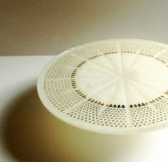 Vintage Pedestal Cake Stand  Creamy White with by BeppieandEido
