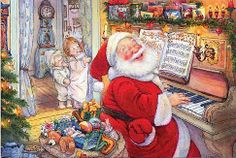 Lisi Martin: Santa playing piano with children peeking in