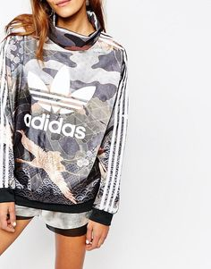 26dcd4ca3f437 adidas Originals Rita Ora 3 Stripe High Neck Sweatshirt In Elegant Print at  asos.com