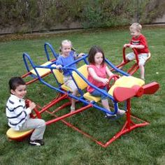 Lifetime Ace Flyer teeter-totter has room for up to seven children total. Outdoor play product is made of durable powder-coated steel and polyethylene plastic. Teeter-totter is designed to soar as high as imagination takes you.