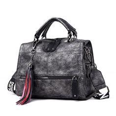 Vintage Handbags Black Leather Handbag Big Bags Tophandle Bags Casual Tote Sac A Main Femme Color Black hashtags Luxury Bags, Luxury Handbags, Designer Handbags, Cheap Handbags, Purses And Handbags, Pink Handbags, Handbags Online, Leather Tassel, Leather Crossbody Bag