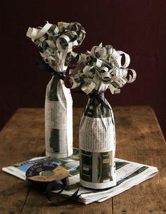 jak zabalit láhev, jak zabalit dárek, furoshiki návod (ne noviny, ale ozdob.papír)