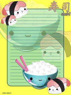 Rice and sushi memo sheet by sayuri-hime-7