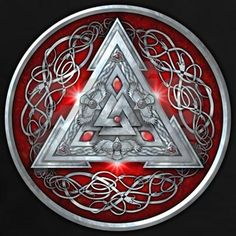 'Norse Triskele Valknut Shield in Silver and Red' by Ricky Barnes Norse Tattoo, Celtic Tattoos, Viking Tattoos, Viking Life, Viking Art, Viking Woman, Pagan Symbols, Viking Symbols, Symbole Tattoo