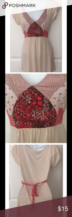 """Kimchi Blue Peach Patchwork Tie-Back Top Super soft Kimchi & Blue top from Urban Outfitters Light Peach color with multi color patchwork and connected matching tie back Approximate measurements: Chest= 14.5"""" across Length= 29"""" from shoulder seam to bottom of shirt Kimchi Blue Tops Blouses"""
