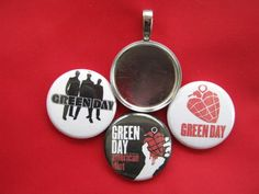 Handmade Interchangeable Magnetic Green Day Broadway  Pendant w/ Black  Necklace