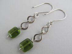 Handmade by Cindy Watkins. Sterling silver cotter pin link green dangle earrings [2011]