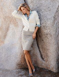 Narrow, knee-length skirt in Melange quality | MADELEINE Mode
