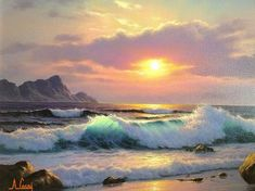 Pink Sunset 1997 by Anthony Casay OIL on canvas Landscape Art, Landscape Paintings, Landscapes, Ocean Art, Ocean Waves, Seascape Paintings, Beach Art, Beautiful Paintings, Painting Inspiration