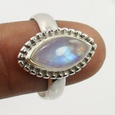 Original RAINBOW MOONSTONE Gemstone 925 Sterling Silver Trendy Ring Size US 7.75 #Unbranded