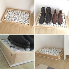 DIY shoe rack made of wood and stones by Silke Giesen Si - Balkon Interieur - Balcony Furniture Design Diy Shoe Rack, Shoe Storage, Diy Rack, Shoe Racks, Shoe Shelf Diy, Boot Tray, Wooden Diy, Wooden Shoe, My New Room