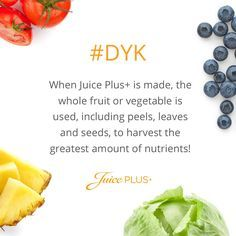 Juice Plus+ provides whole food based nutrition to promote a balanced diet to ensure you get enough servings of fruits, vegetables & grains. Learn more now! Fruit Juice Recipes, Fruit Smoothies, Whole Food Recipes, Juice Plus+, Juice Diet, Vegetable Nutrition, Healthy Nutrition, Nutrition Shakes, Healthy Tips