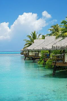 We stayed there! The water really is that blue! Moorea Intercontinental Resort and Spa Bora Bora, Dream Vacations, Vacation Spots, Maldives, Moorea Tahiti, Places Around The World, Around The Worlds, Places To Travel, Places To Visit