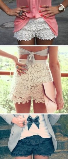 You should get some of these for summer!...they would be super cute on you!!  Tiered Lace Shorts