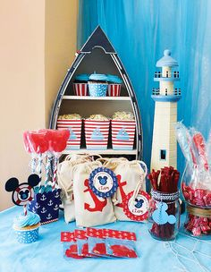 Cute Nautical Mickey Mouse Birthday Party